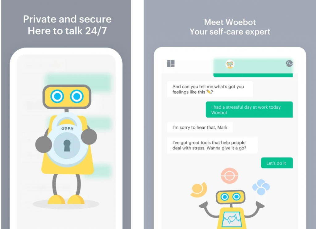 Woebot chat bot for mental health